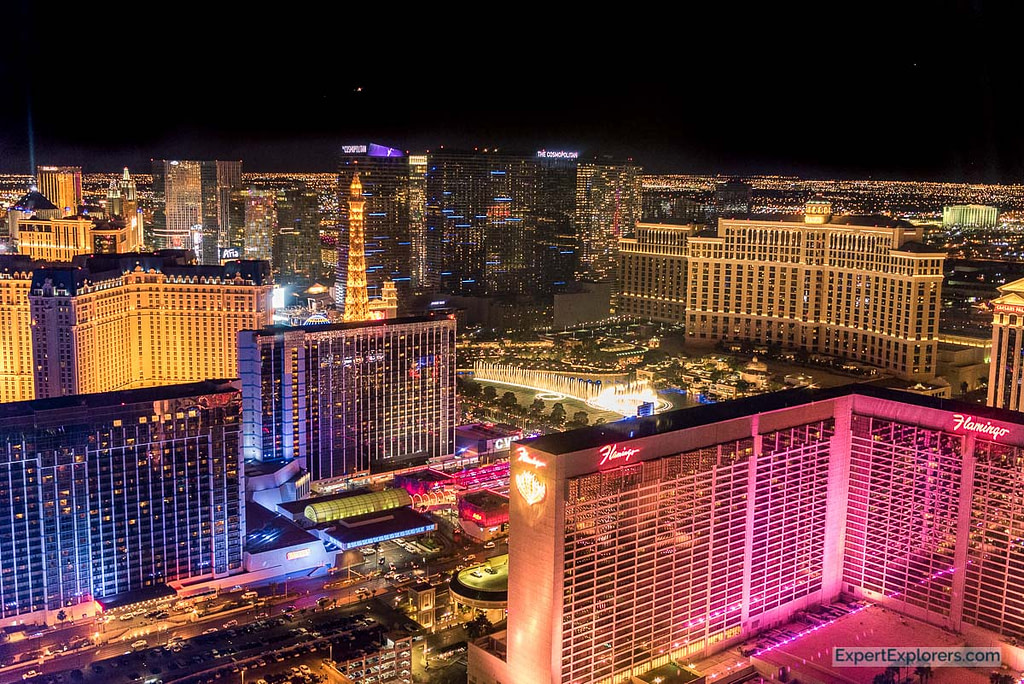 View of Las Vegas lit up at night from the High Roller Observation Wheel.